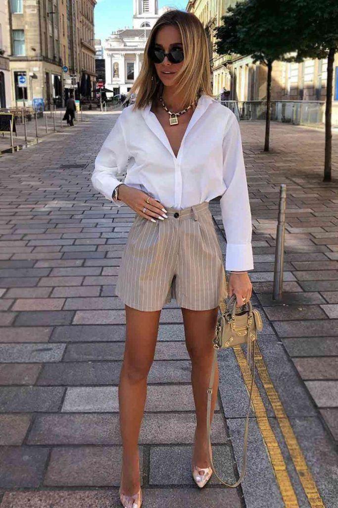 Striped Shorts With White Shirt #whiteshirt