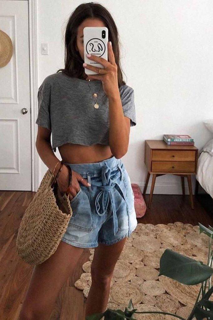 Denim Shorts With Crop Top #croptop #denimshorts