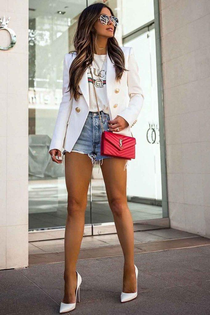 Denim Short With White Jacket Outfit #whitejacket #denimshorts