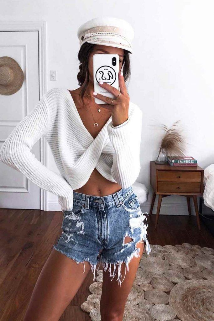 Distressed Denim Shorts With White Sweater #whitesweater