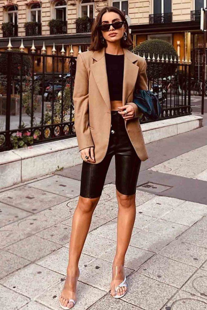 Leather Biker Shorts With Blazer Outfit #blazer #bikershorts