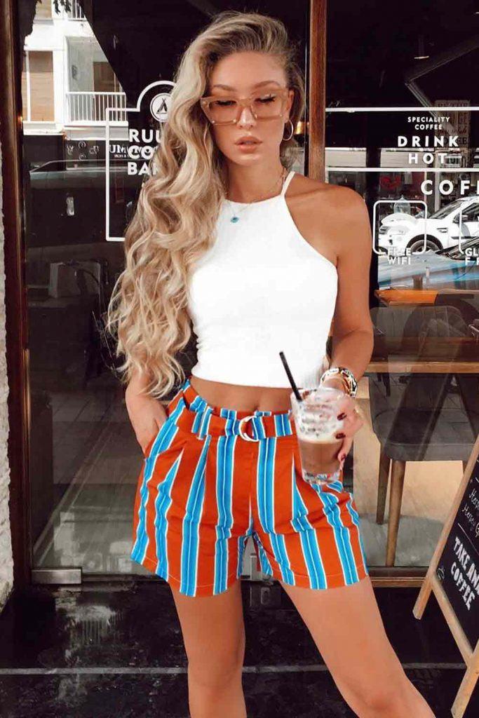 Striped Shorts With White Top #stripedshorts #whiteshirt
