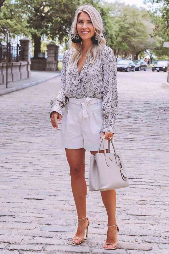 White Shorts With Printed Blouse #printedblouse
