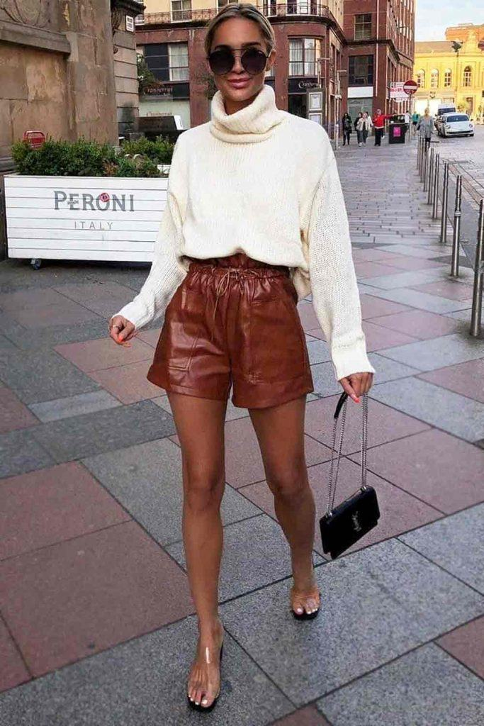 White Sweater With Brown Shorts #brownshorts