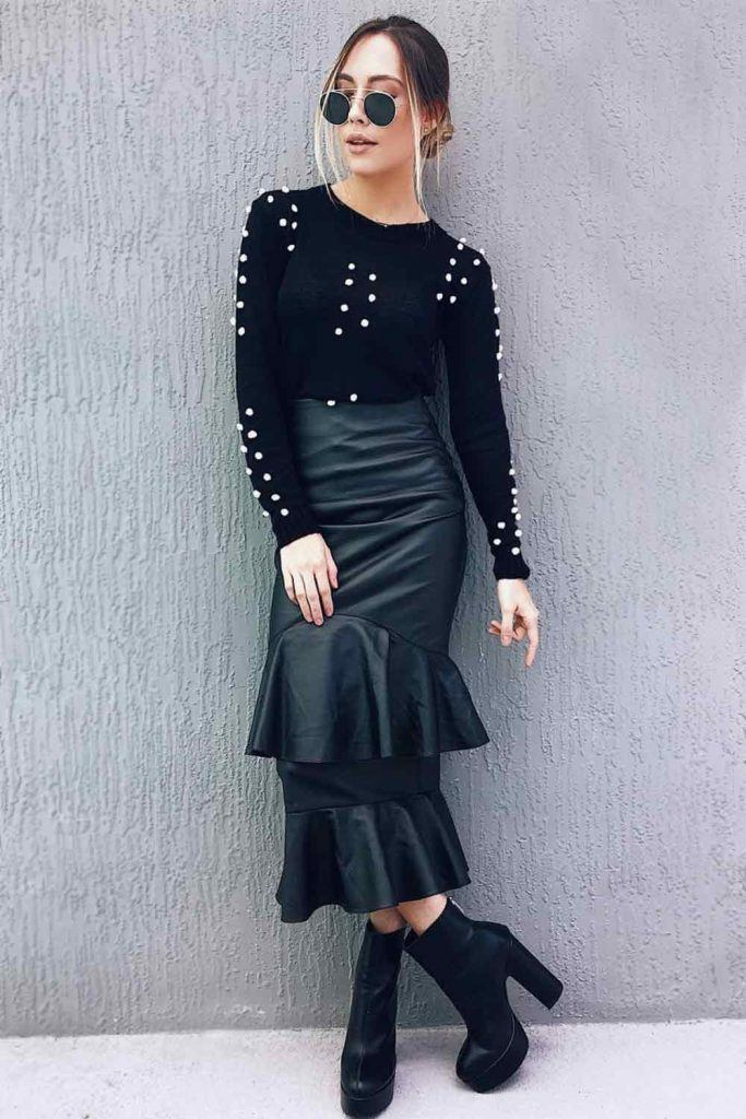 All Black Outfit With Midi Skirt #blackoutfit