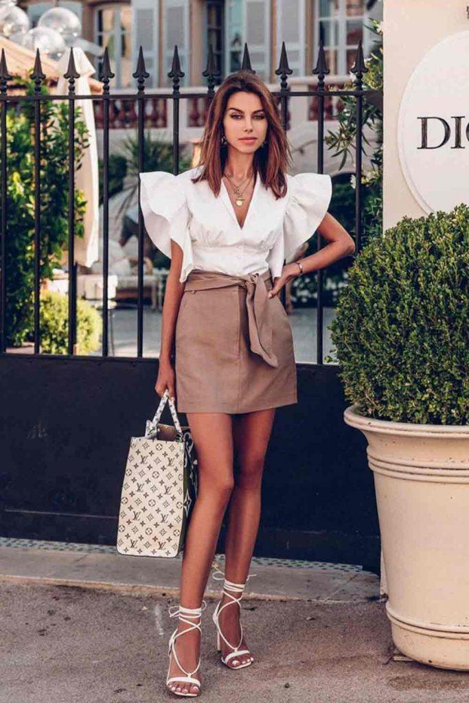 White Blouse With Ruffled Short Sleeves #miniskirt #whiteblouse