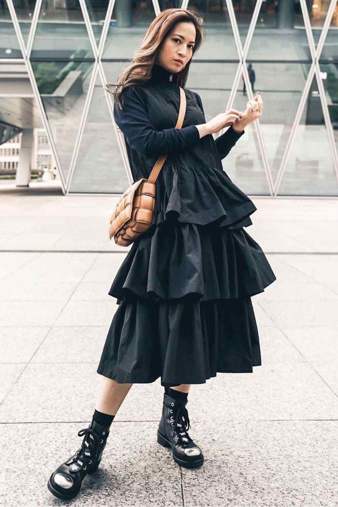 Black Tea-length Dress With Ruffles #blackdress #combatboots