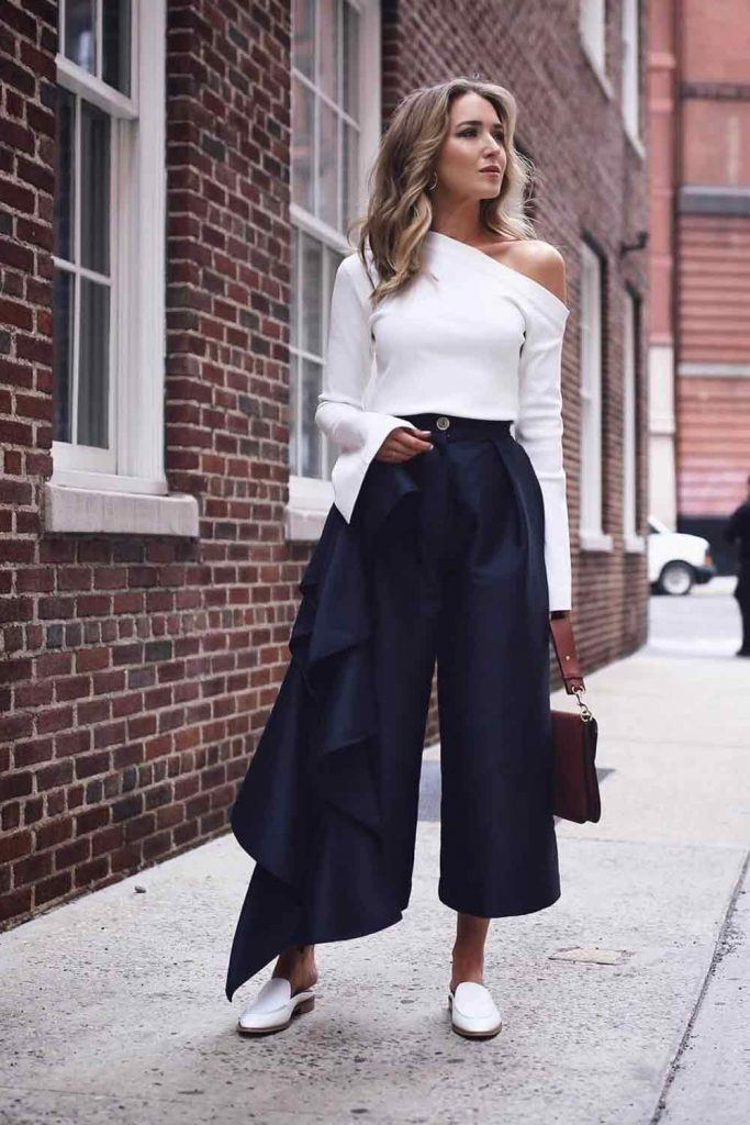 High Waisted Culottes With Ruffles #culottes #whitetop