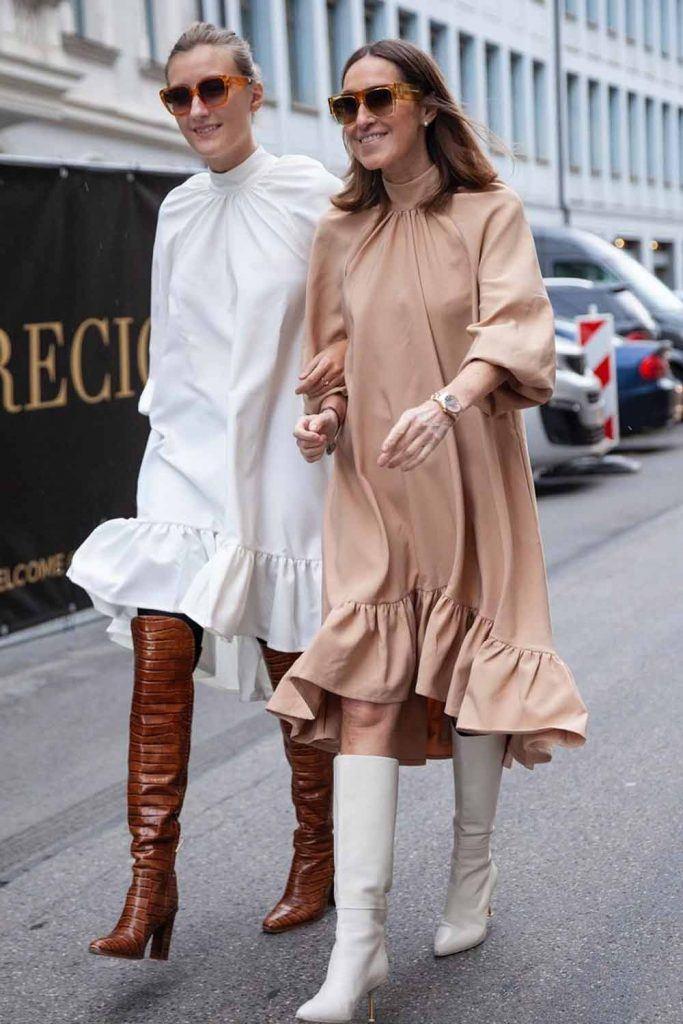 Minimalist Dress With Ruffles #whitedress #nudedress