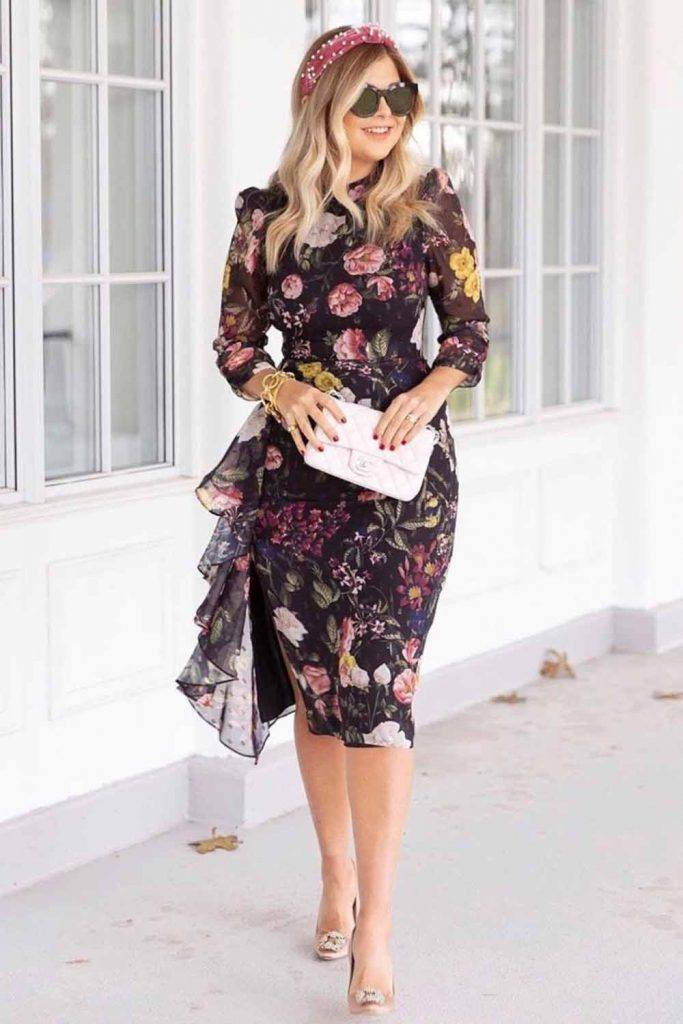 Floral Dress With Ruffled Accent #ruffledaccent #floraldress
