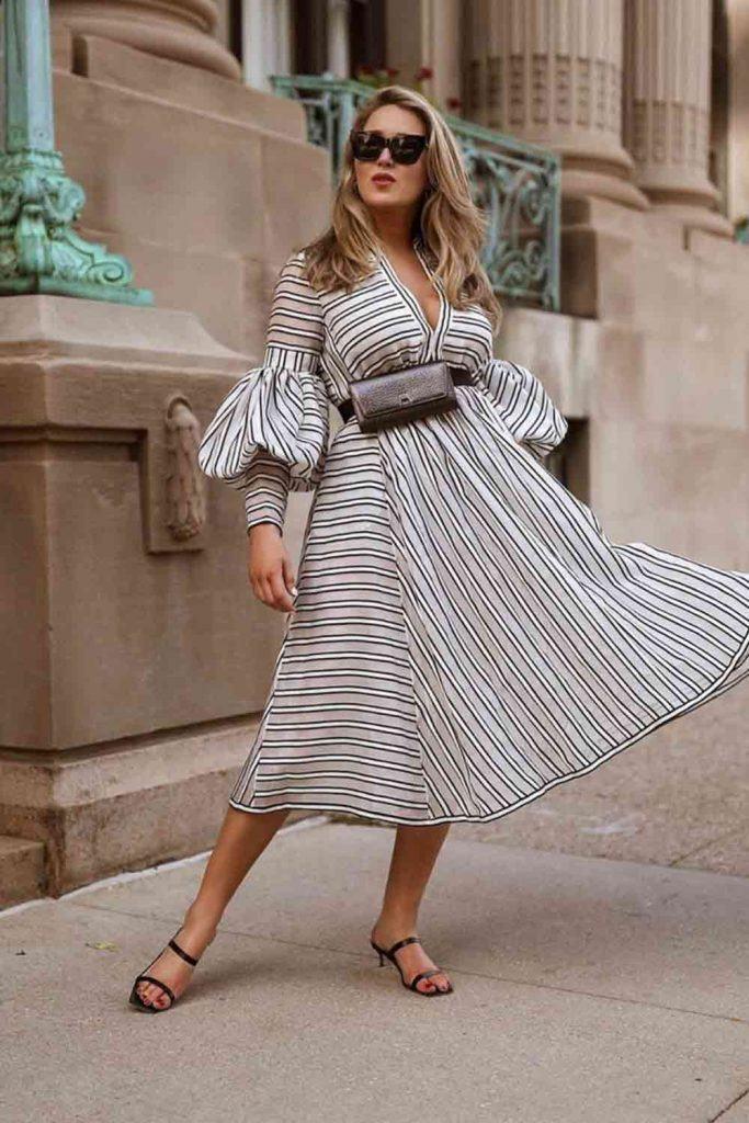 Striped Dress With Ruffled Sleeves #ruffledsleeves