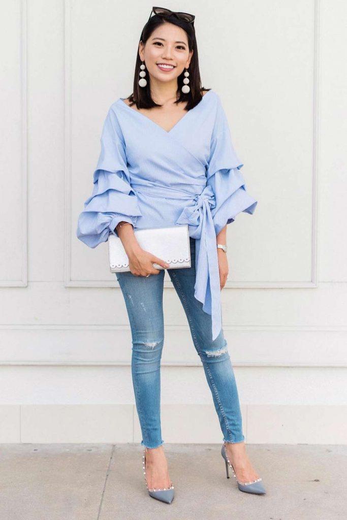 Blue Top With Long Ruffled Sleeves #bluetop #ruffledsleeves