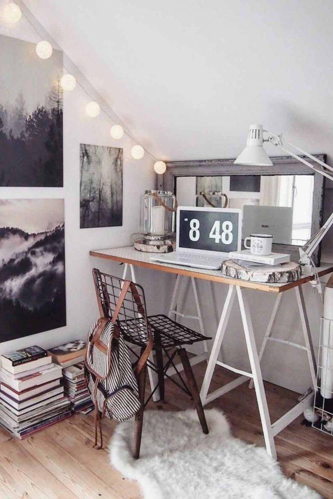 Loft Home Office Design #stringlights #lamp
