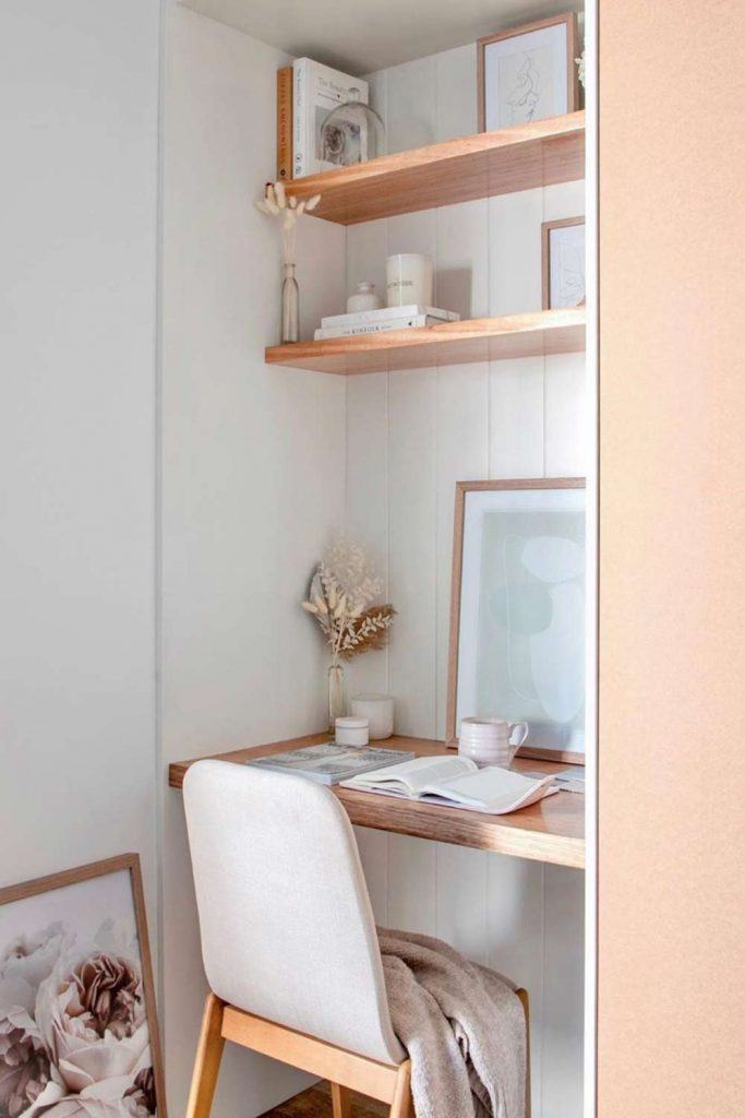 Work Space Nook - Idea For Small Space #nookdesign #shelves