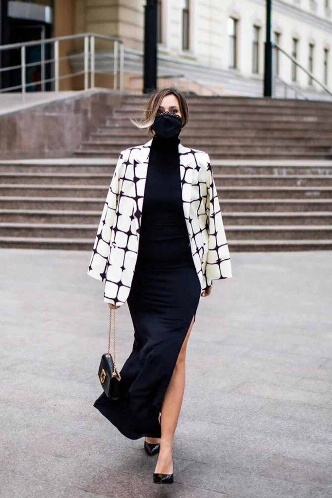 Black Maxi Dress With White Plaid Jacket #maxidress
