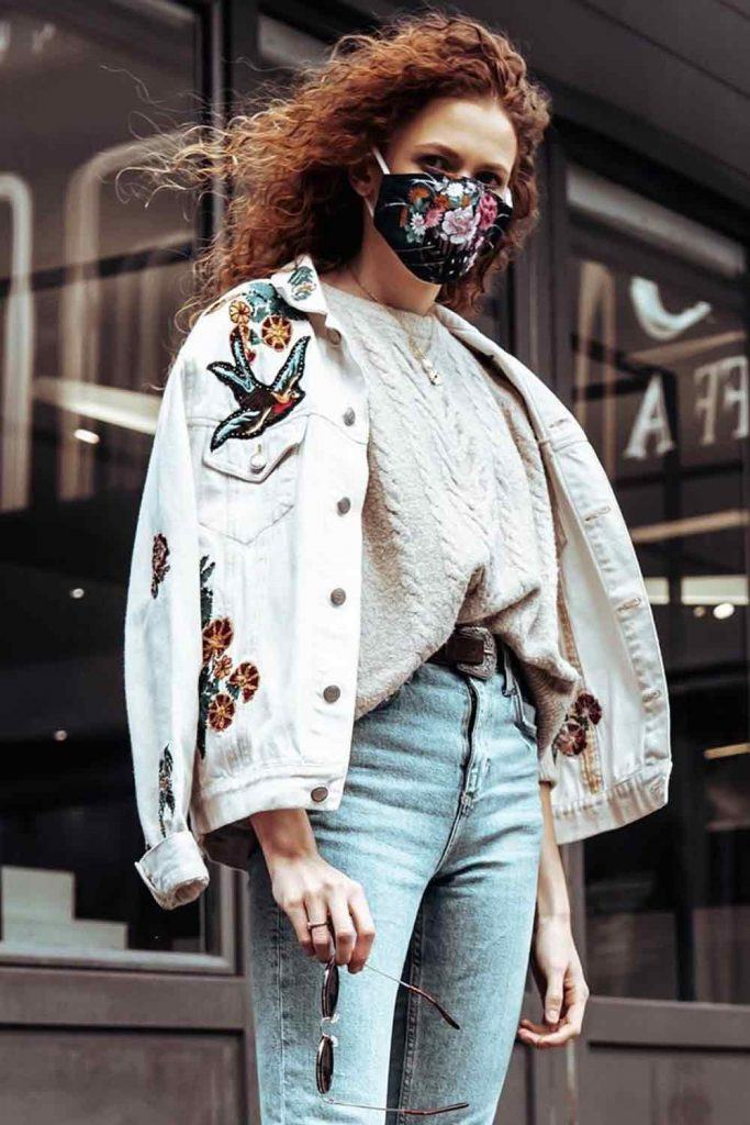Casual Outfit With Knitted Sweater And Floral Mask #floralmask