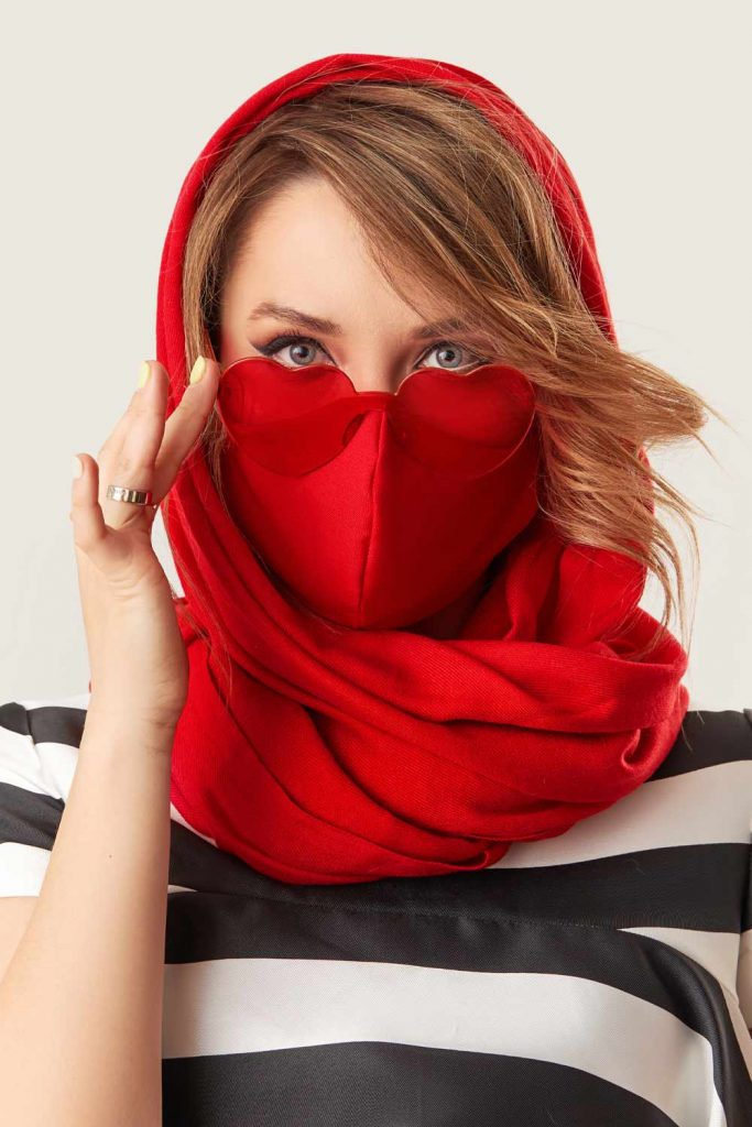 Red Mask with Red Scarf Over Head