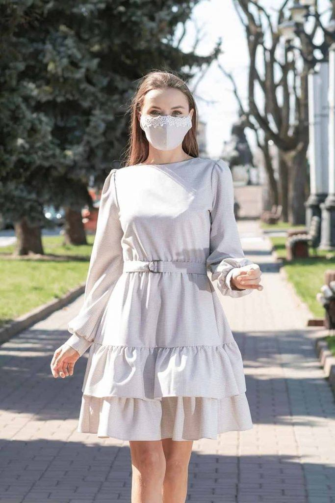 Ruffled Dress With Lace Fabric Mask #lacemaskdesign