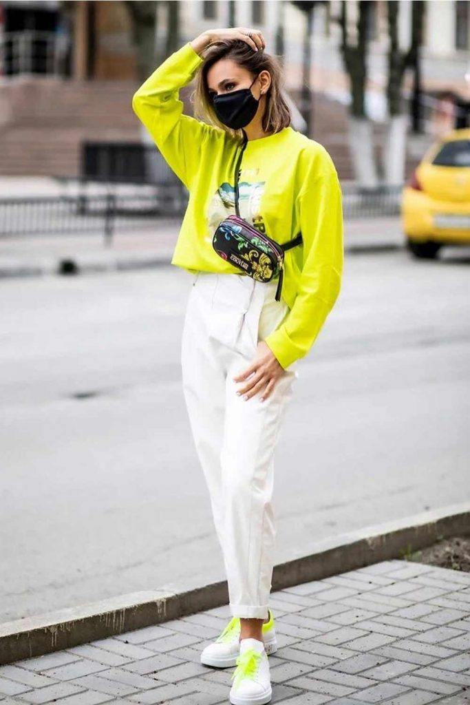 High Waisted Pants With Lemon Sweatshirt #sweatshirt