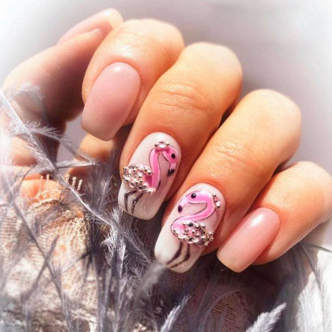 Flamingo Art Accent with Stones For Summer Mani