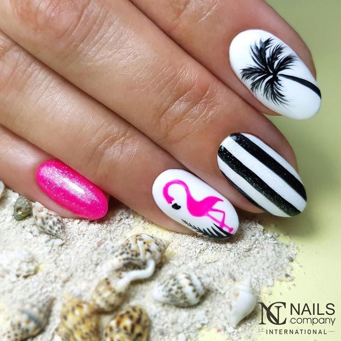 Flamingo Art Accent For Summer Mani
