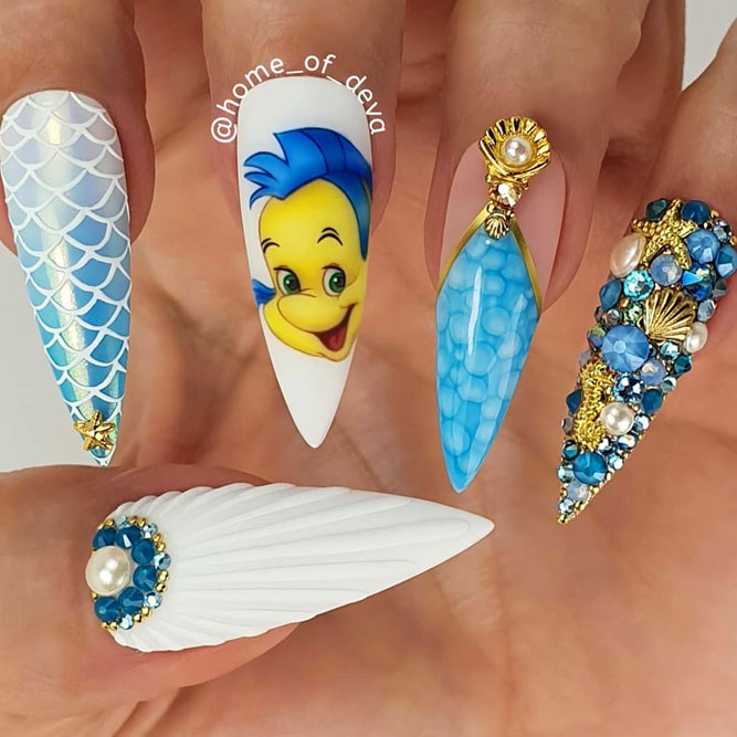 Mermaid Summer Nails Art with Stones