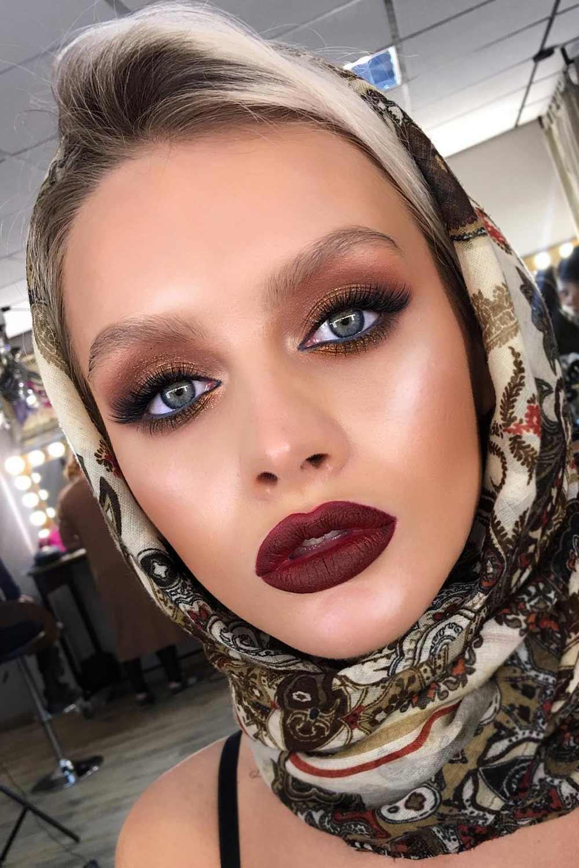 Matte Burgundy Lipstick Makeup