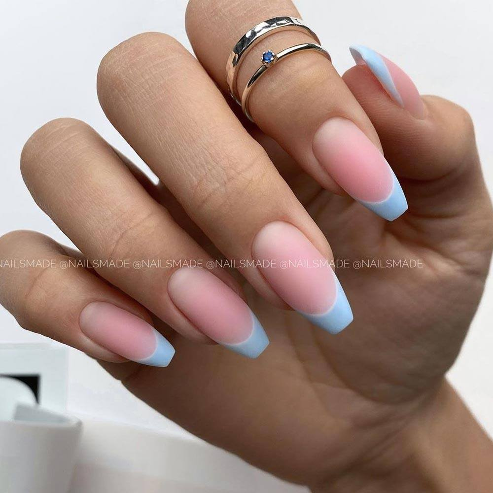 Colorful French Nails for Homecoming