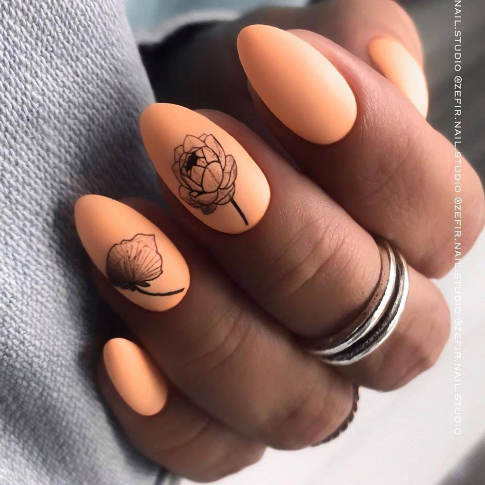 Matte Orange Nails for Homecoming