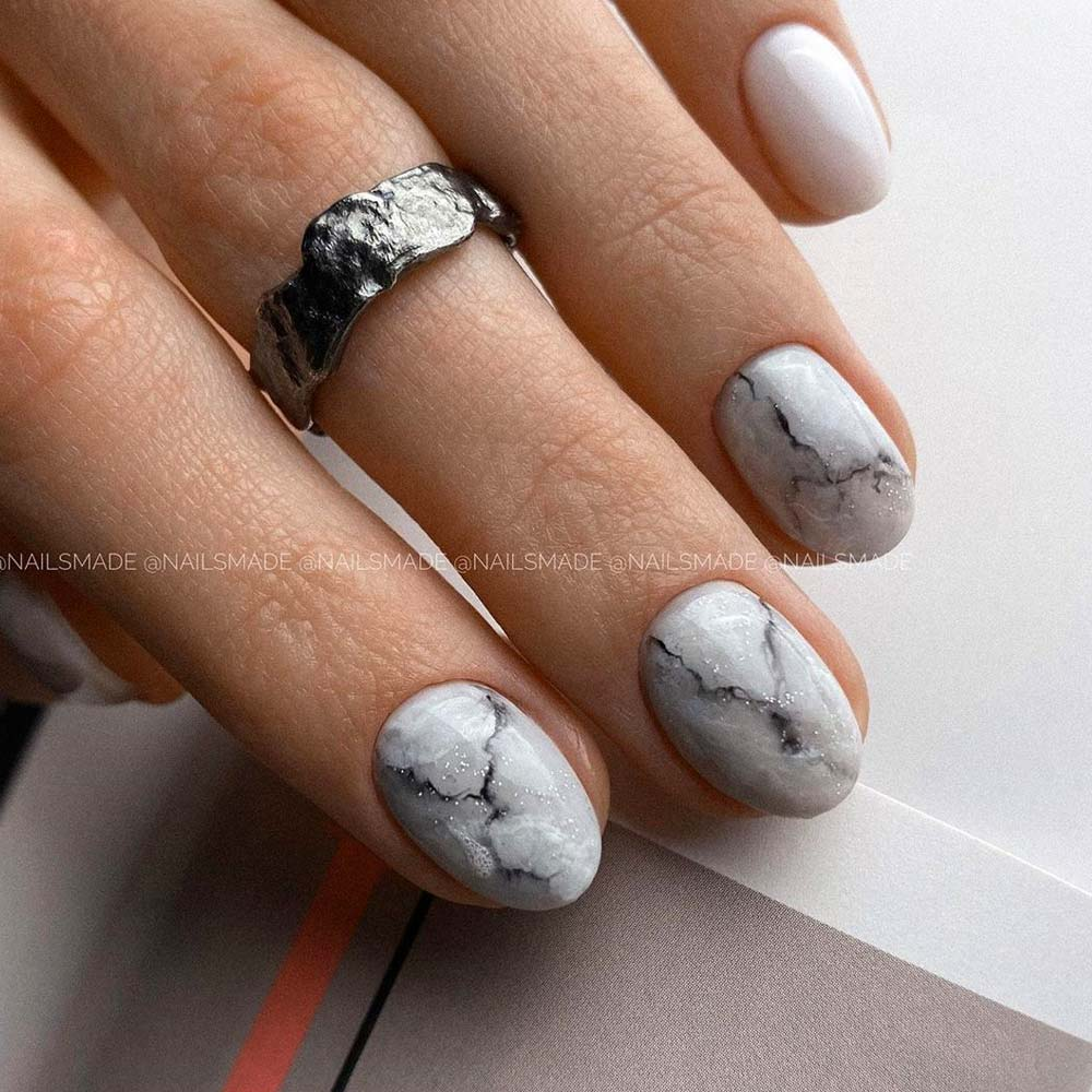 Cutest Marble Homecoming Nails