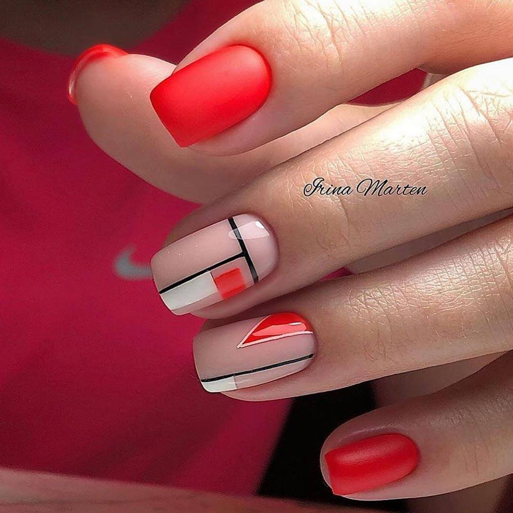 Classic Red Nails for Homecoming
