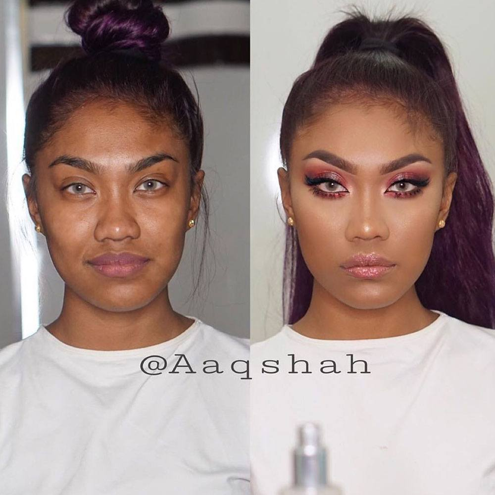Before and After Makeup Ideas for Darker Skin