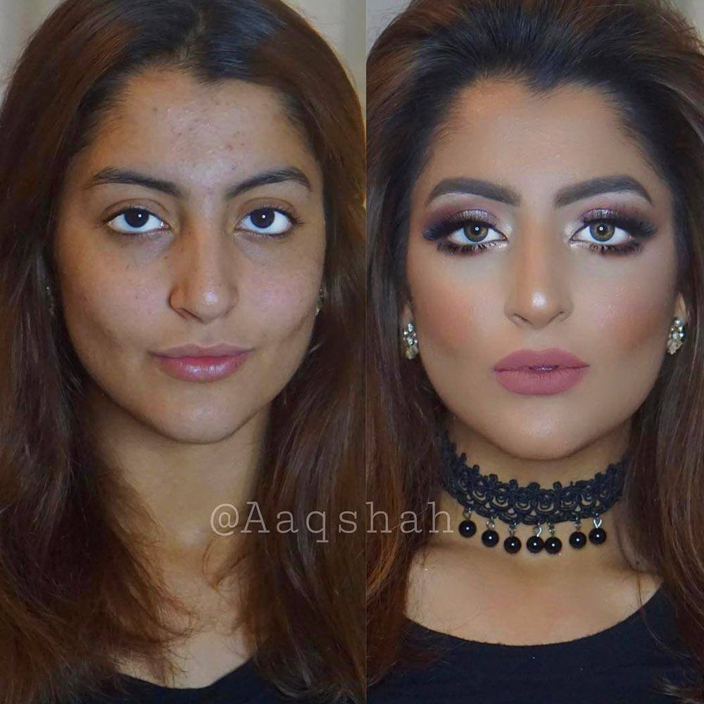 Before and After Makeup for Darker Skin