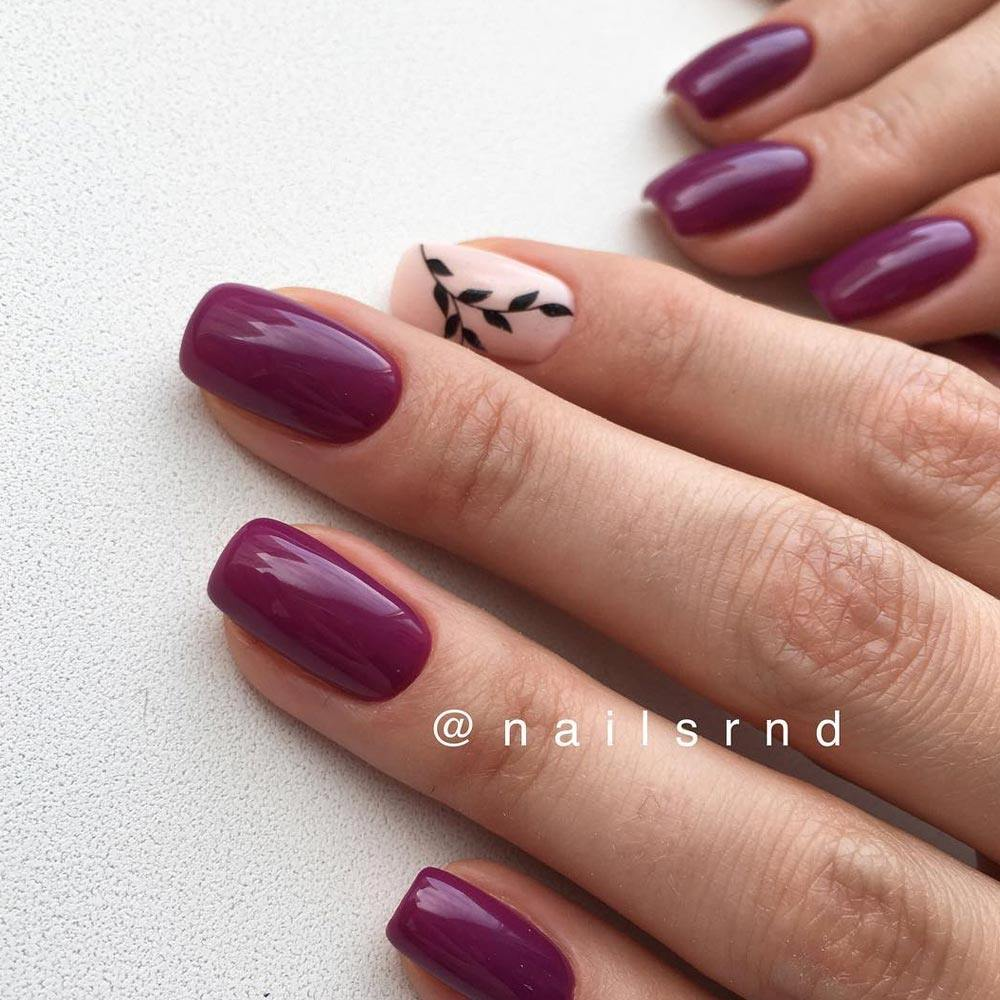 Flower and Leaves Designs For Mauve Nails