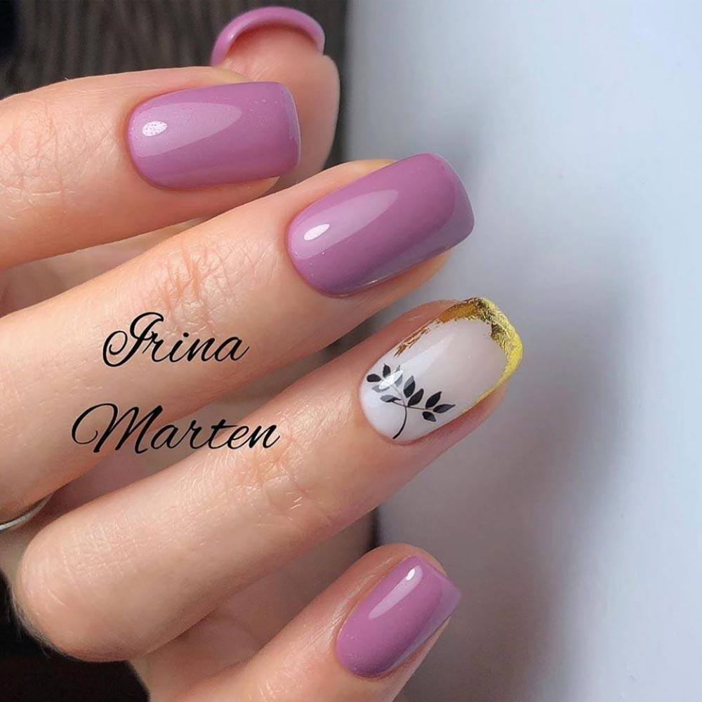 Leaves Designs For Mauve Nails
