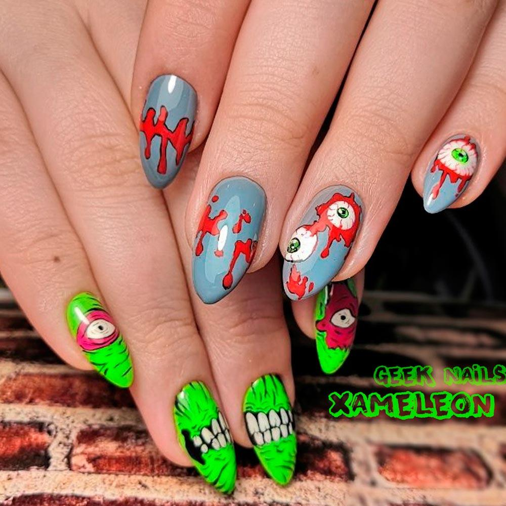 Neon Spooky Eyes Nail Art