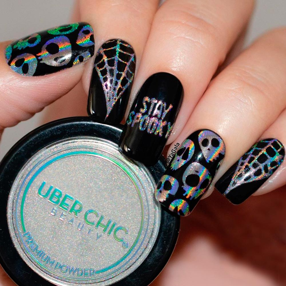 Dark Nail Art with Holo Skull Accent