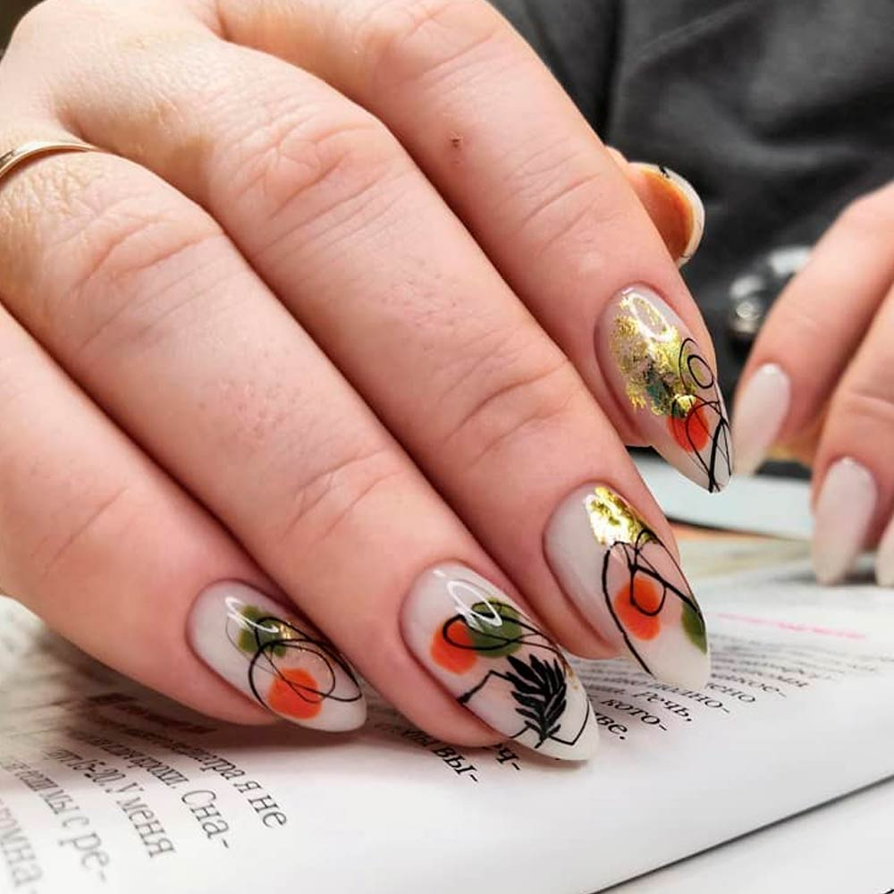 Abstract Thanksgiving Nail Art Designs