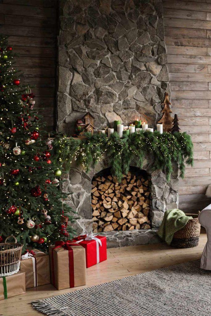 Stone Fireplace Decor With Greenery