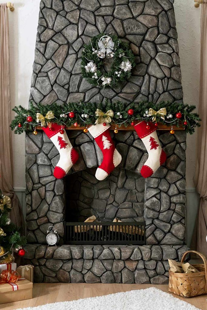 Dark Colored Fireplace Christmas Decoration