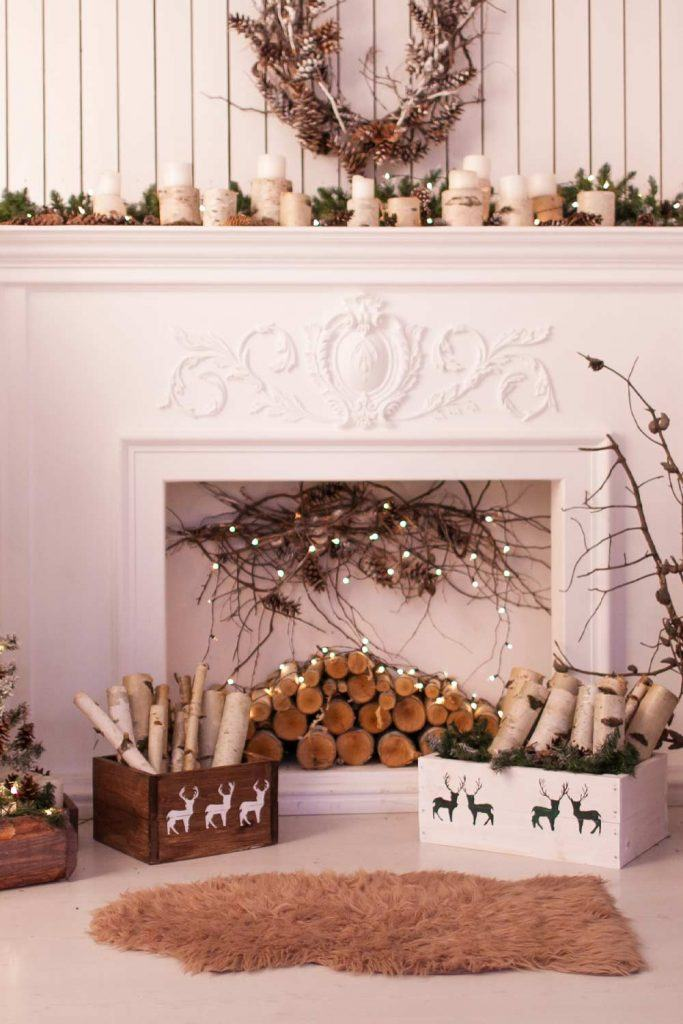 Christmas Fireplace Decoration with Rustic Accent