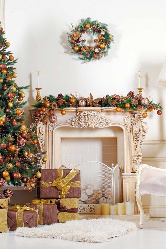 Vintage Christmas Fireplace Decoration with Gold Accent