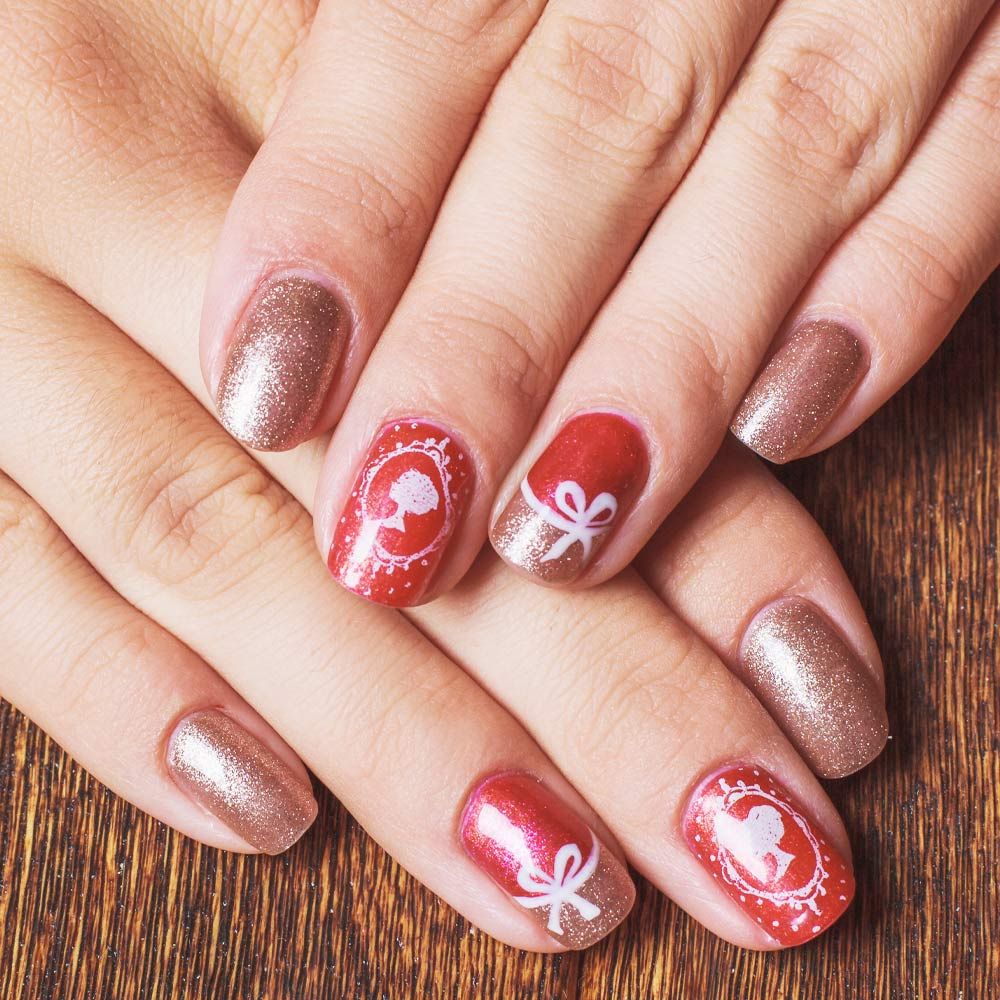 Cute Christmas Nails with Bow Nail Art