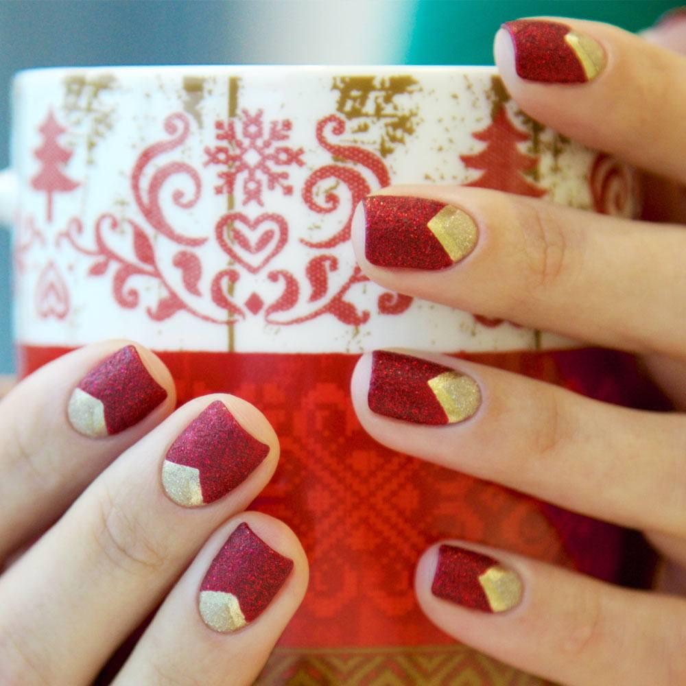 Matte Glitter Christmas Nails