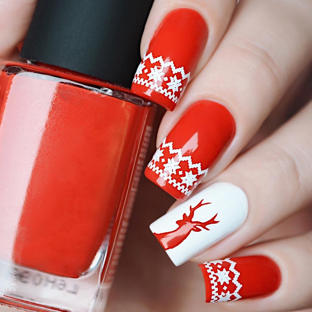Patterned Christmas Nails with Accented Nail