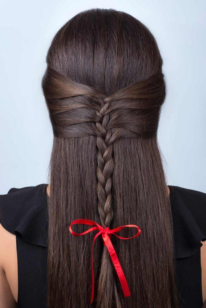 Half Up Half Down Hairstyle with Braid and Bow