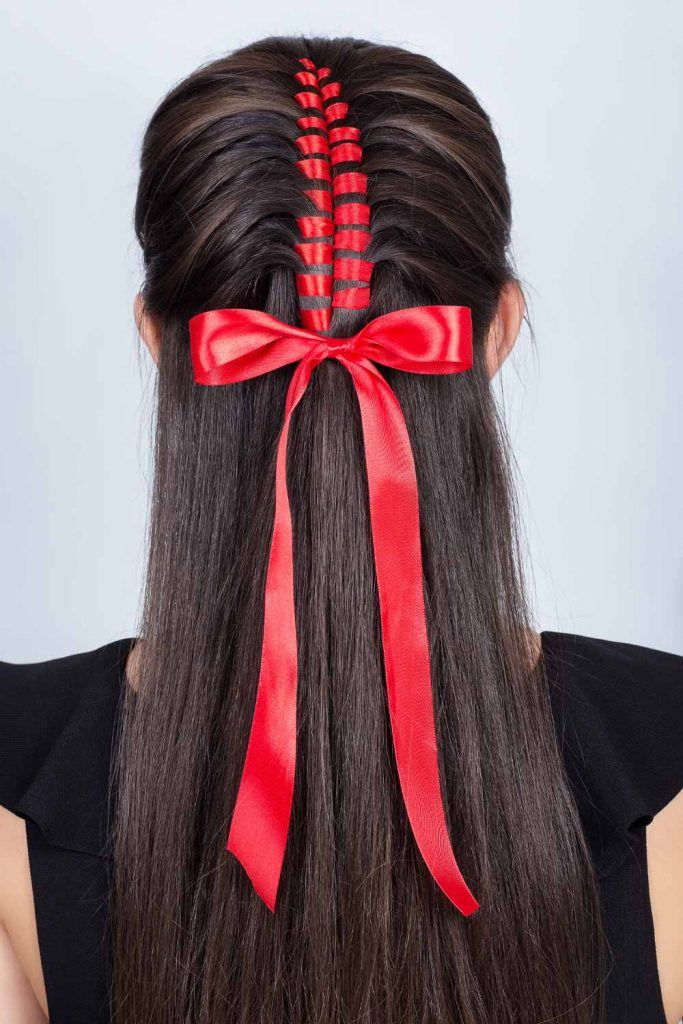 Braided Half Up Hairstyle for Christmas