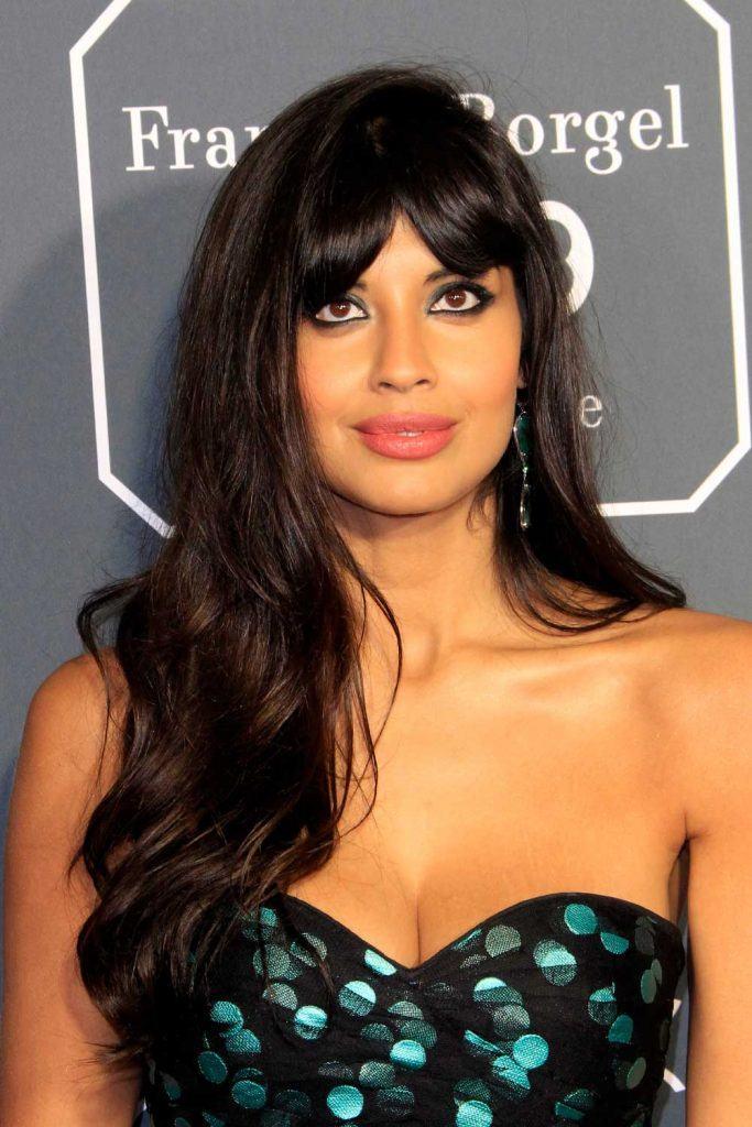 Jameela Jamil with Curtain Bangs