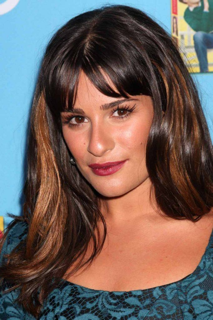 Lea Michele with Curtain Bangs
