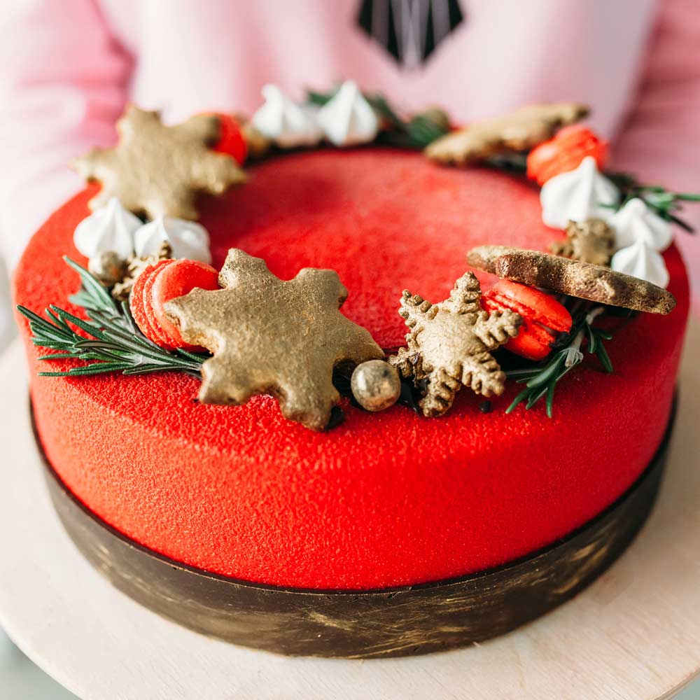 Christmas Cake with Snowflakes